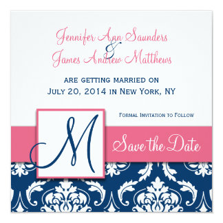 Navy Blue Damask Monogram Save the Date Pink 5.25x5.25 Square Paper Invitation Card