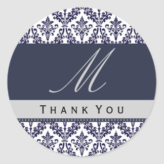 Navy Blue Damask Monogram Wedding THANK YOU St Round Sticker
