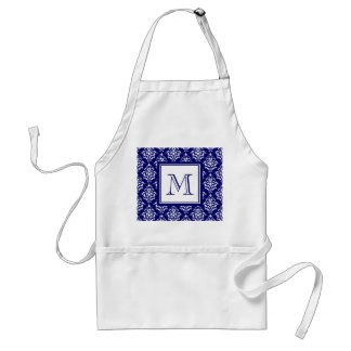 Navy Blue Damask Pattern 1 with Monogram Standard Apron