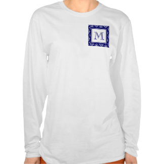 Navy Blue Damask Pattern 1 with Monogram Tee Shirts