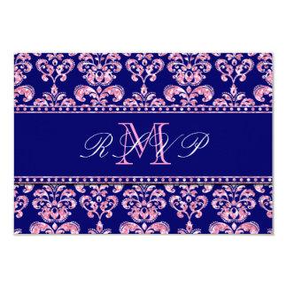 Navy Blue Damask Pink Glitter Wedding RSVP Card