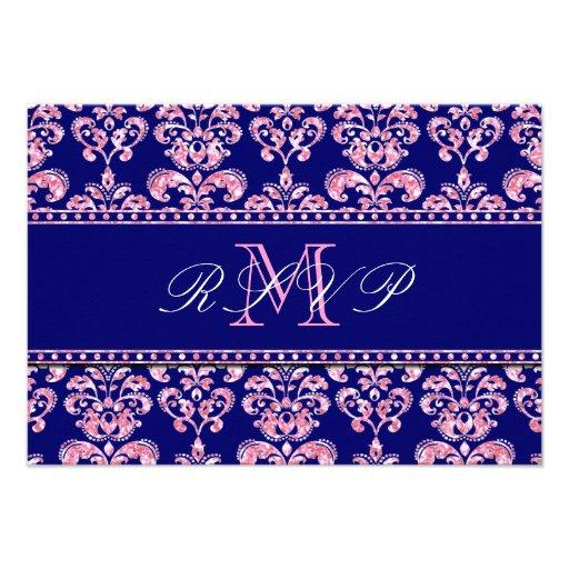 Navy Blue Damask Pink Glitter Wedding RSVP Announcement