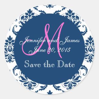 Navy Blue Damask Pink Monogram Save the Date Round Sticker