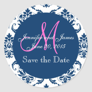 Navy Blue Damask Pink Monogram Save the Date Round Stickers