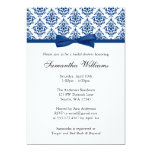Navy Blue Damask Ribbon Bow Bridal Shower 13 Cm X 18 Cm Invitation Card