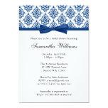Navy Blue Damask Ribbon Bow Bridal Shower 13 Cm X 18 Cm Invitation Card
