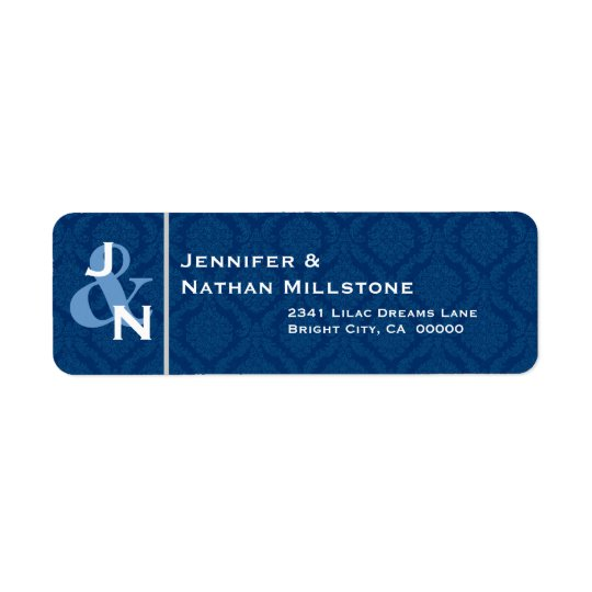 NAVY BLUE Damask Wedding Bride Groom Monogram Return Address Label