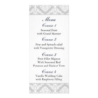 """navy blue"" damask Wedding menu Full Colour Rack Card"
