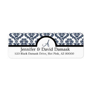 Navy Blue Damask Wedding Monogram Address Labels
