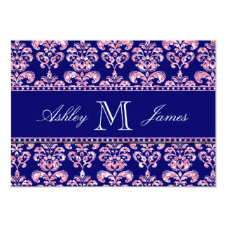 "Navy Blue Damask Wedding Printed Pink Glitter 5"" X 7"" Invitation Card"