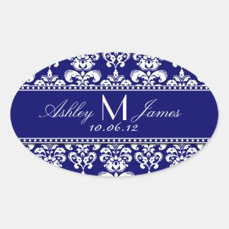 Navy Blue Damask Wedding Wine Label Oval Oval Sticker