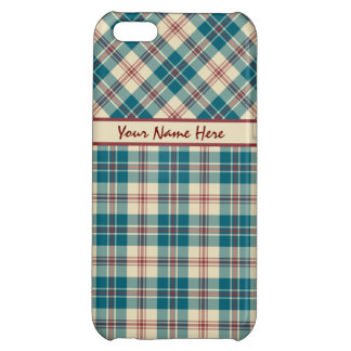 Navy Blue, Deep Red and Beige Plaid iPhone 5C Cases