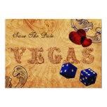 navy blue dice Vintage Vegas save the date 13 Cm X 18 Cm Invitation Card