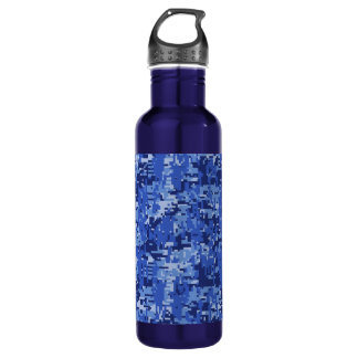 Navy Blue Digital Camo Camouflage Texture 710 Ml Water Bottle
