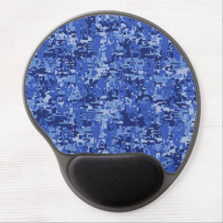 Navy Blue Digital Camo Camouflage Texture Gel Mouse Pad