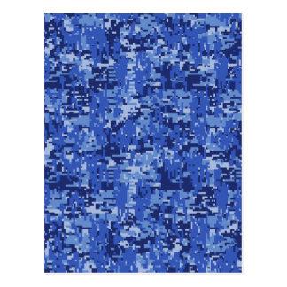Navy Blue Digital Camo Camouflage Texture Postcard