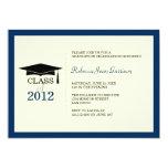 Navy blue ecru cap tassel graduation announcement 13 cm x 18 cm invitation card
