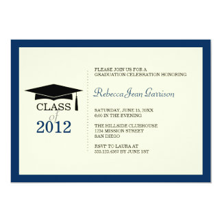 "Navy blue ecru cap tassel graduation announcement 5"" x 7"" invitation card"