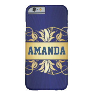 Navy Blue & Elegant Gold Barely There iPhone 6 Case