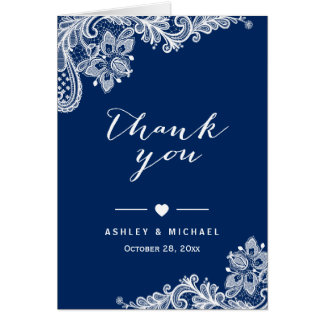 Navy Blue Elegant White Lace Floral Thank You Card
