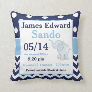 Navy Blue Elephant Baby Announcement Pillow