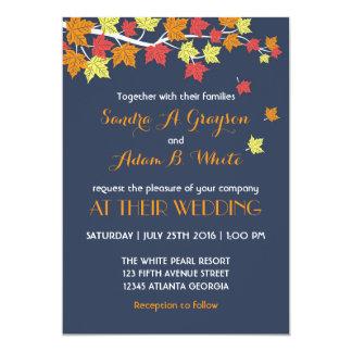 Navy Blue Falling Maple Leaves Wedding Invitation