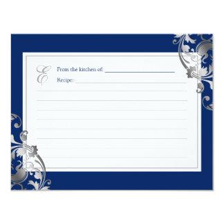 Navy Blue Faux Silver Flourish Swirl Recipe Card 11 Cm X 14 Cm Invitation Card