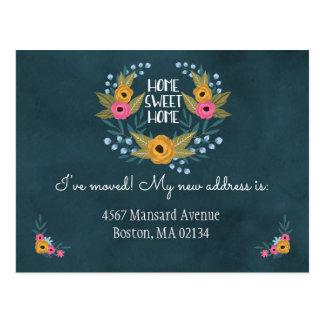 Navy Blue Floral Change of Address Postcard