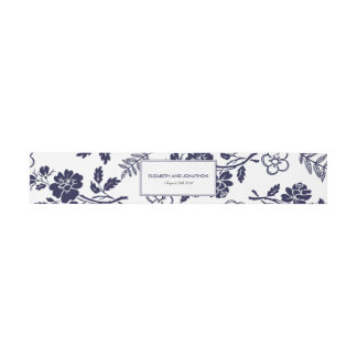 Navy Blue Floral Invitation Belly Band