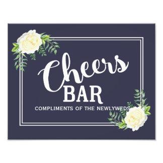 navy blue floral Ivory Rose wedding party Bar sign