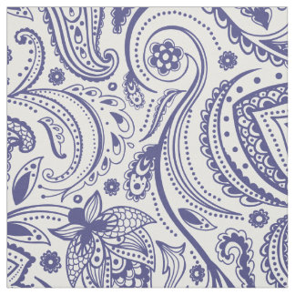 Navy Blue Floral Paisley-Custom White background Fabric