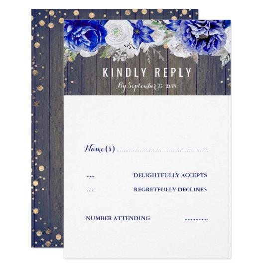 Navy Blue Floral Rustic Wedding RSVP Card