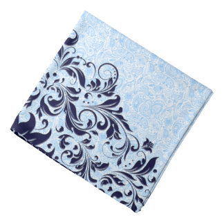 Navy Blue Floral Swirls With Baby Blue Paisley Bandana
