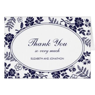 Navy Blue Floral Thank You Notes Note Card