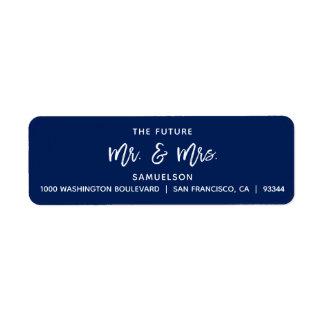 Navy Blue Future Mr & Mrs Wedding Return Address Return Address Label