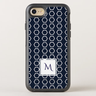Navy Blue Geometric Honeycomb Pattern Monogram OtterBox Symmetry iPhone 8/7 Case