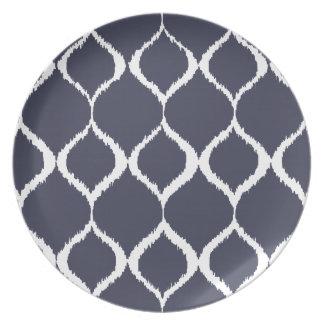 Navy Blue Geometric Ikat Tribal Print Pattern Plate