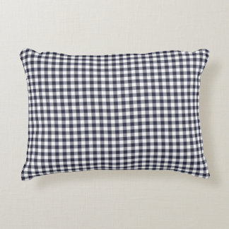 Navy Blue Gingham Pattern Accent Pillow