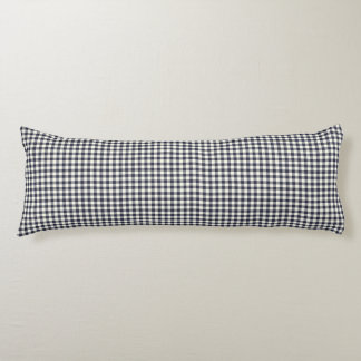 Navy Blue Gingham Pattern Body Pillow