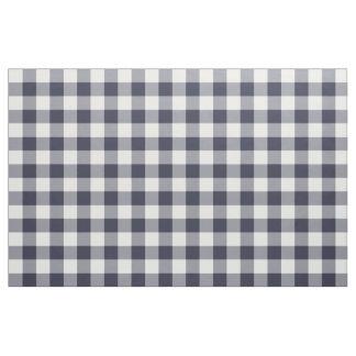 Navy Blue Gingham Pattern Fabric