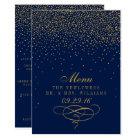 Navy Blue & Glam Gold Confetti Wedding Menu Card