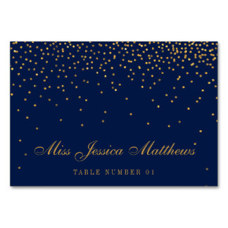 Navy Blue & Glam Gold Confetti Wedding Place Cards