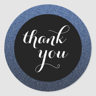 Navy Blue Glitter Black Thank You Favor Sticker