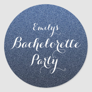 Navy Blue Glitter Faux Ombre Bachelorette Sticker