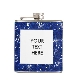 Navy Blue Glitter Printed Hip Flask