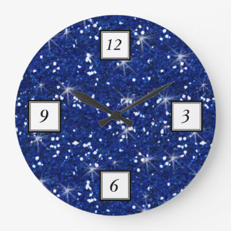 Navy Blue Glitter Printed Large Clock