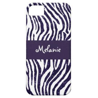 Navy Blue Glitter Zebra Monogram iPhone Case