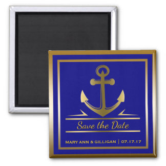 Navy Blue Gold Anchor Nautical Wedding Save Date Magnet