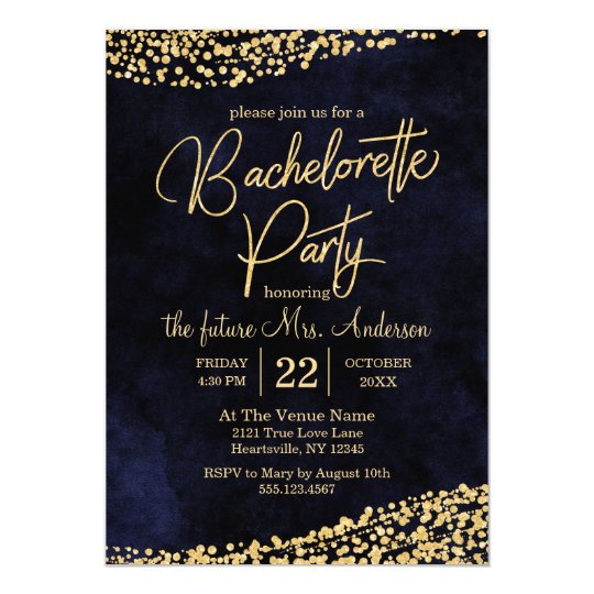 Navy Blue & Gold Bachelorette Party Invitation