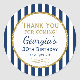 Navy Blue Gold Birthday Thank You Coming Favor Tag Round Sticker